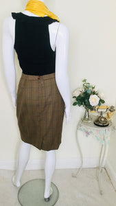 80s vintage check wool skirt