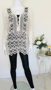 Boho Style Cream Crochet Tunic Top