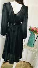 Load image into Gallery viewer, 70s Black Sheer Dress