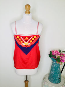 Red scarf style camisole with geometric print