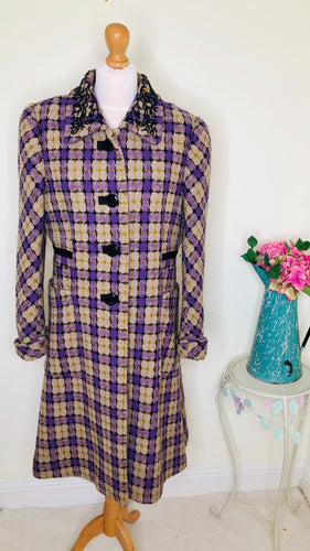 Purple and mustard check wool coat