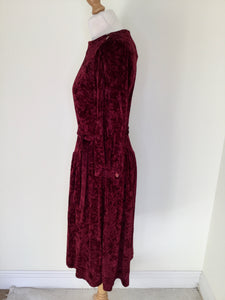 Vintage Cranberry Crushed Velvet Dress