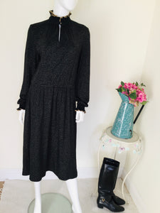 70s Betty Barclay Black and Gold Dress