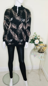 80s vintage feather print sweater