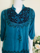 Load image into Gallery viewer, Vintage embroidered ethnic turquoise tunic