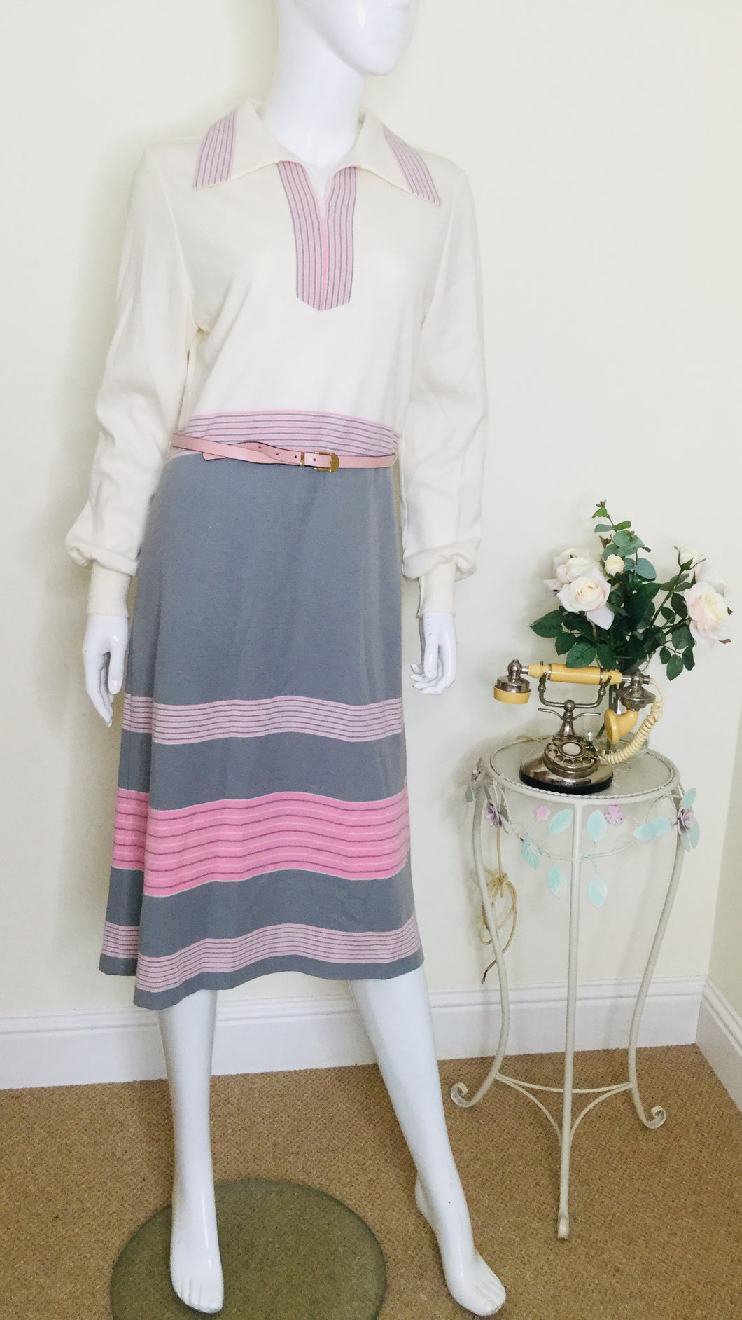 70s knit midi dress with collar