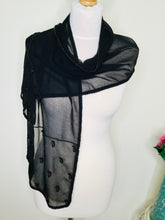 Load image into Gallery viewer, Black chiffon scarf with beaded detail