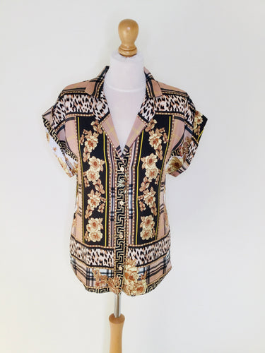 Baroque style short sleeved blouse