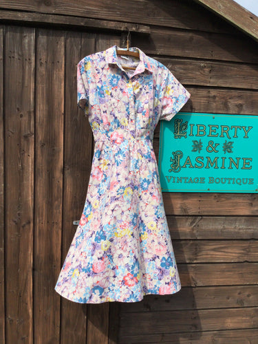 Summer floral shirt dress