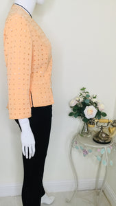 Vintage Peach Sequin and Beaded Cropped Jacket