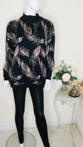 80s feather print oversized sweater