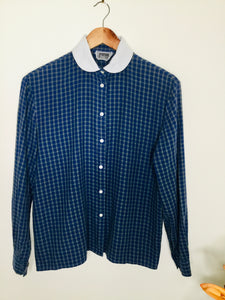 Vintage plaid navy and green blouse