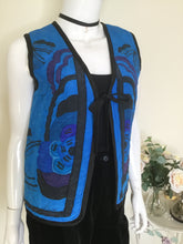 Load image into Gallery viewer, Vintage silk quilted waistcoat with floral print