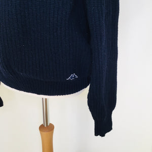 Vintage navy rib knit sweater with Kappa logo on bottom left