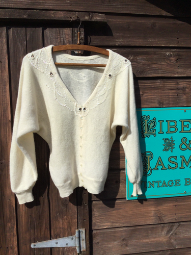 Cream wool cardigan with sequin detail and batwing sleeves
