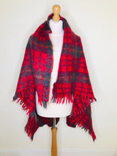 Load image into Gallery viewer, Vintage red plaid mohair blanket shawl