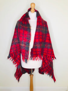 Vintage red plaid mohair blanket shawl