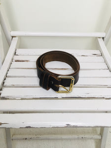Vintage Dark Brown Leather Belt