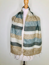Load image into Gallery viewer, Vintage striped scarf in neutral colours