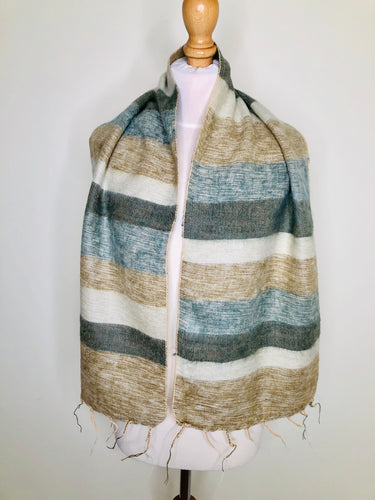 Vintage striped scarf in neutral colours