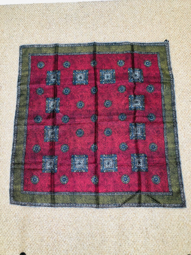 Vintage tile print silk scarf in burgundy and green