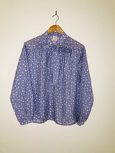 Load image into Gallery viewer, Lilac spot print pussy bow blouse