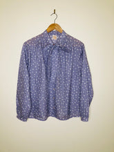 Load image into Gallery viewer, Vintage lilac spot print pussy bow blouse