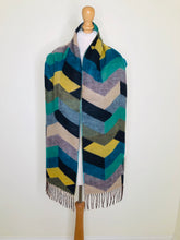 Load image into Gallery viewer, Colourful chevron striped scarf with fringing