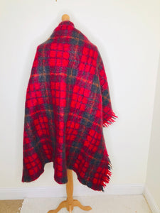 Vintage Mohair Plaid Blanket Shawl