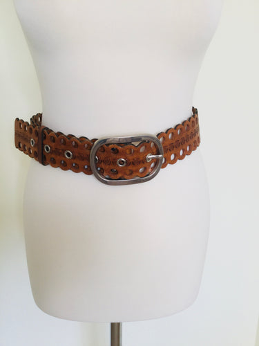 Vintage tan tooled belt