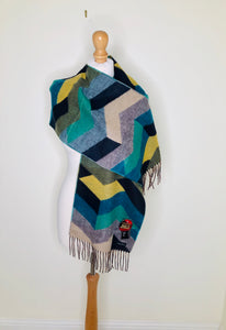 Colourful chevron striped scarf with fringing