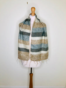 Vintage striped scarf with fringing in natural colours