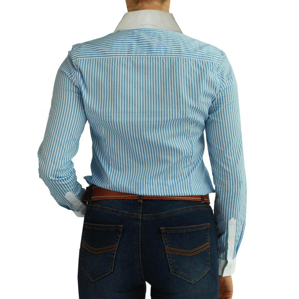e996e0cfbc14 ... Load image into Gallery viewer, RINGERS WESTERN Caulfield Womens Semi  Fitted Stripe Shirt Blue Stripe