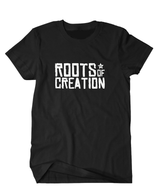 T-SHIRT: Roots of Creation logo, white on black