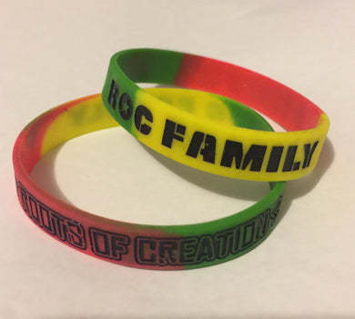 Double-sided Rasta colored RoC Fam bracelets