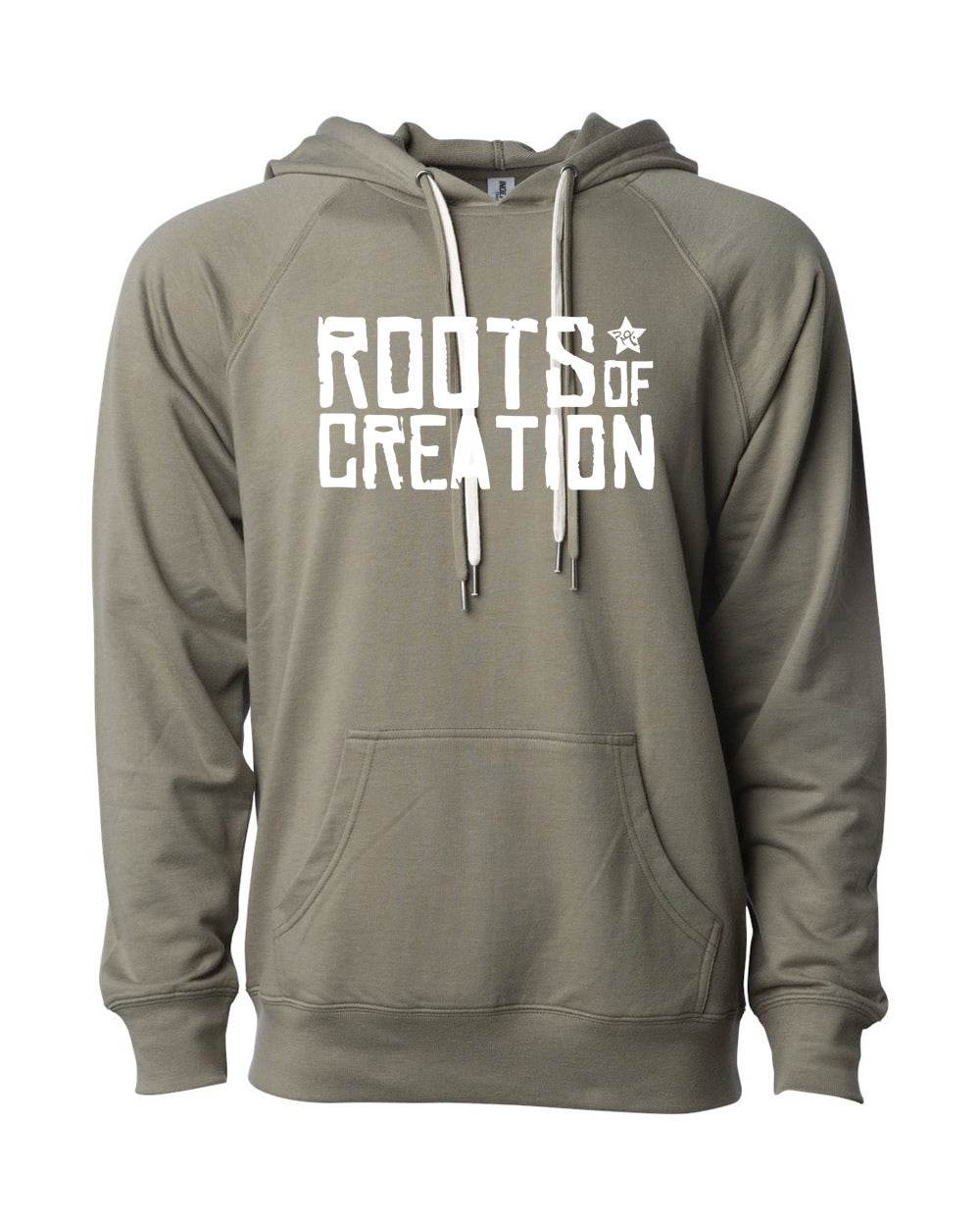 HOODIE: Roots of Creation Logo (White Logo on Solid Pullover)