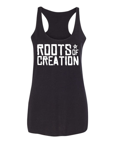 WOMEN'S TANK TOP: White Roots of Creation logo on Black tank