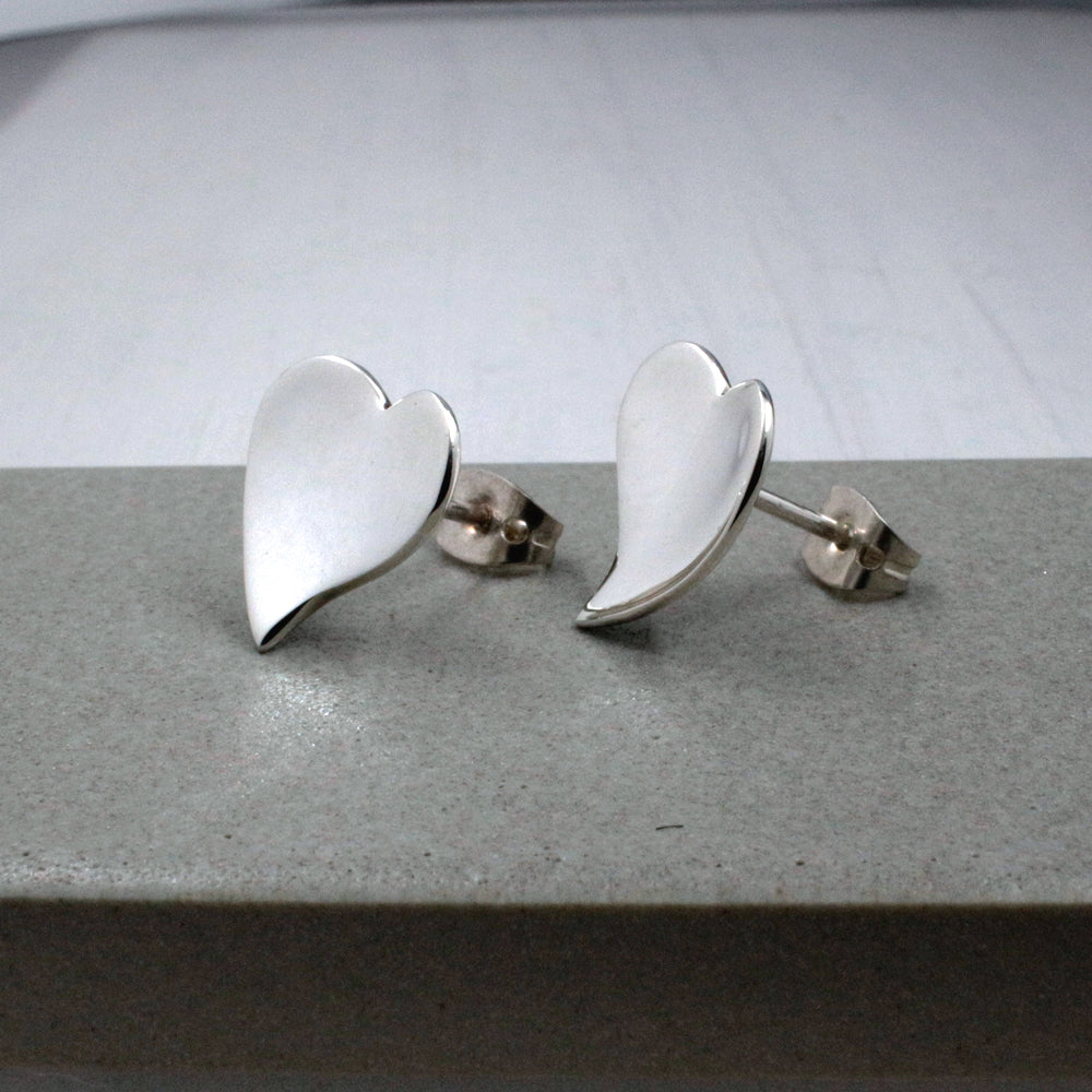 Small OVE Heart Sterling Silver Post Earrings | High Polished Finish