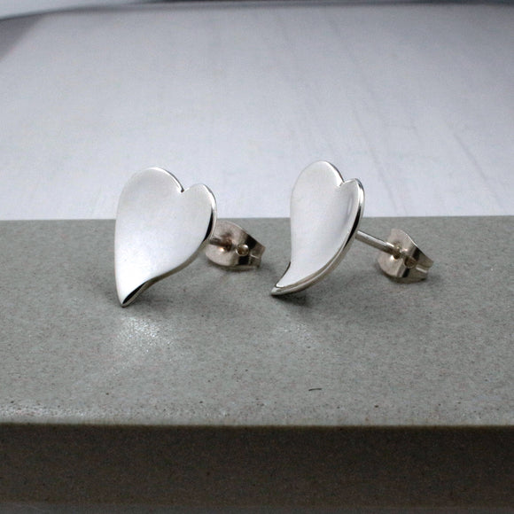 Small Dapped OVE Heart Silver Earrings | High Polished Sterling Silver | Jewelry | Silver | Wholesale | Sterling Silver | Jewelry | Silver | Wholesale Post Earrings