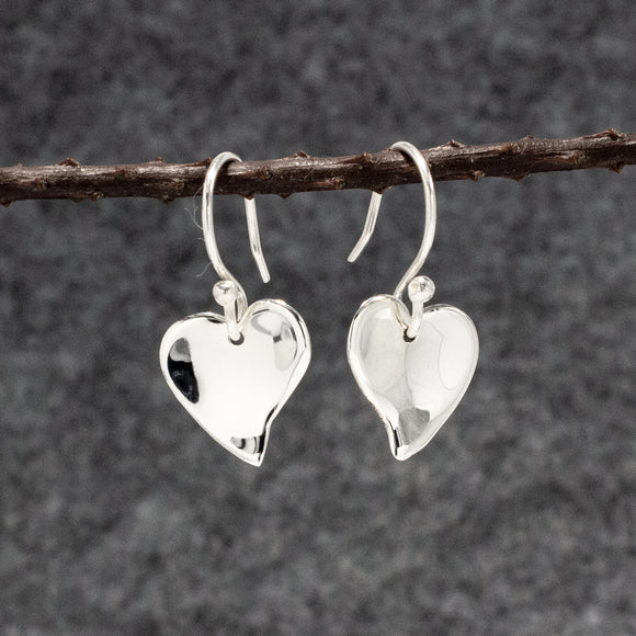 Small Dapped OVE Heart Silver Earrings | High Polished Sterling Silver | Jewelry | Silver | Wholesale | French Wire Sterling Silver | Jewelry | Silver | Wholesale Earrings