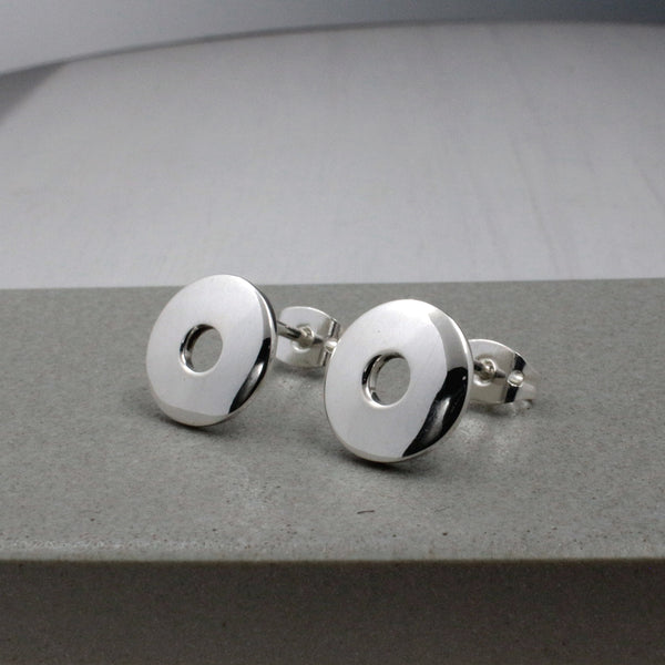Small Off-Center Disc Silver Earrings - High-Polished Silver - Stud Earrings