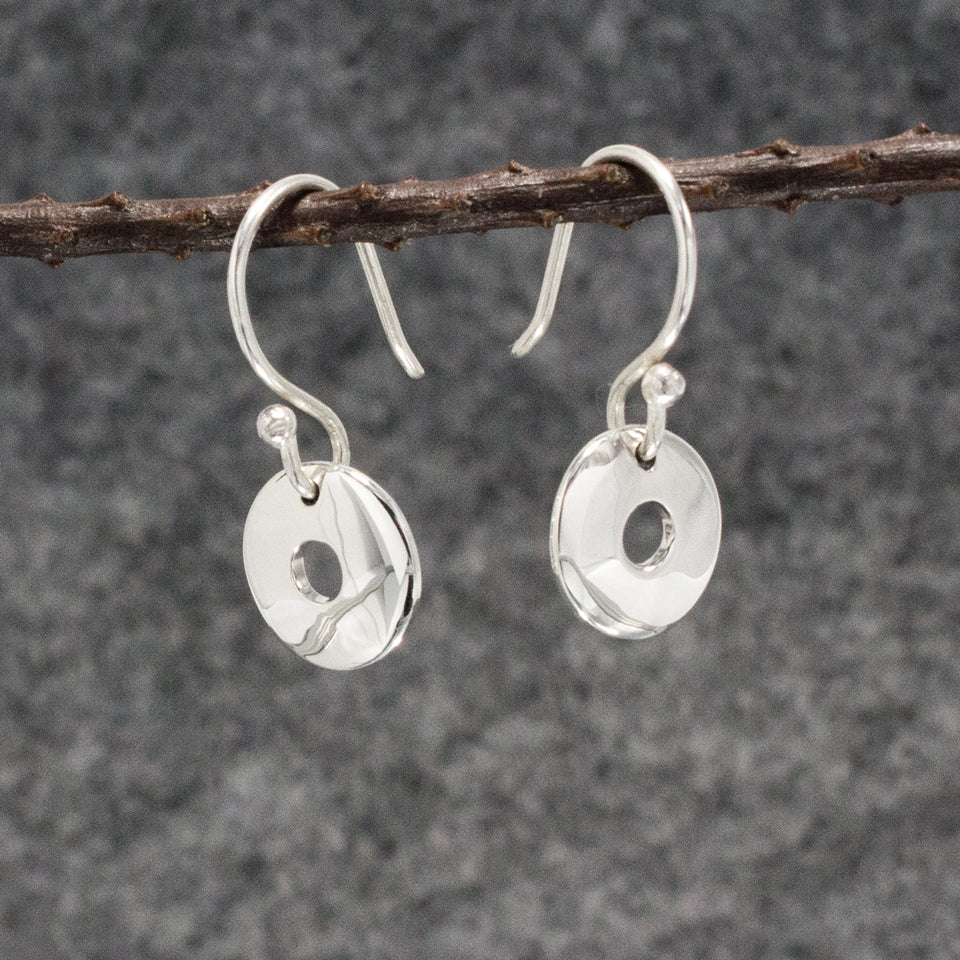 Small Off-Center Disc Sterling Silver French Wire Earrings | High Polished Finish