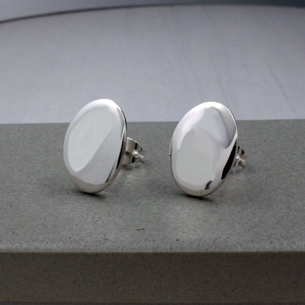Small Oval Sterling Silver Post Earrings | High Polished Finish