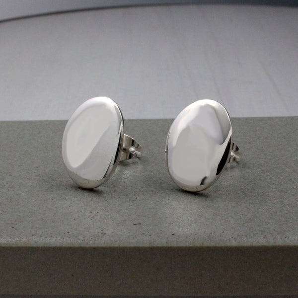 Small Oval Silver Silver Earrings | High-Polished Silver Earrings | Stud Silver Earrings