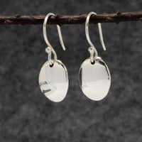 Small Oval Silver Silver Earrings | High-Polished Silver Earrings | French Wire Silver Earrings