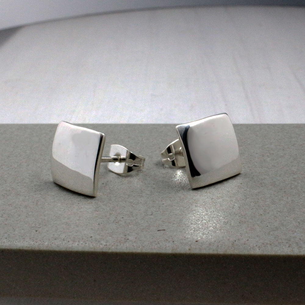 Small Square Sterling Silver Post Earrings | High Polished Finish