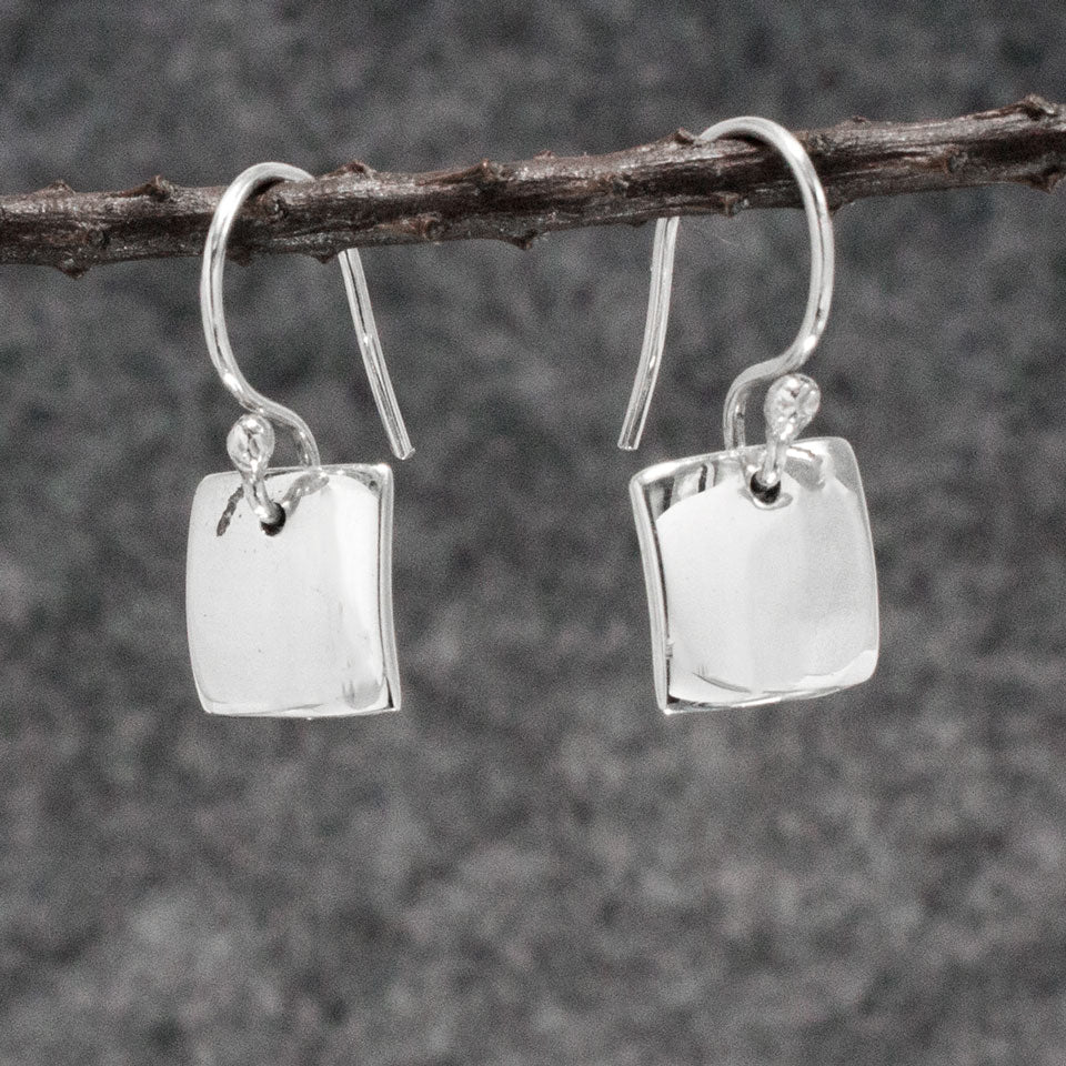 Small Square Sterling Silver Earrings With High Polished Silver Finish | Silver earrings, silver dangle earrings, hammered silver earrings, oxidized silver earrings, brushed silver earrings, silver jewelry, inpiranza, silpada jewelry, wholesale silver jewelry