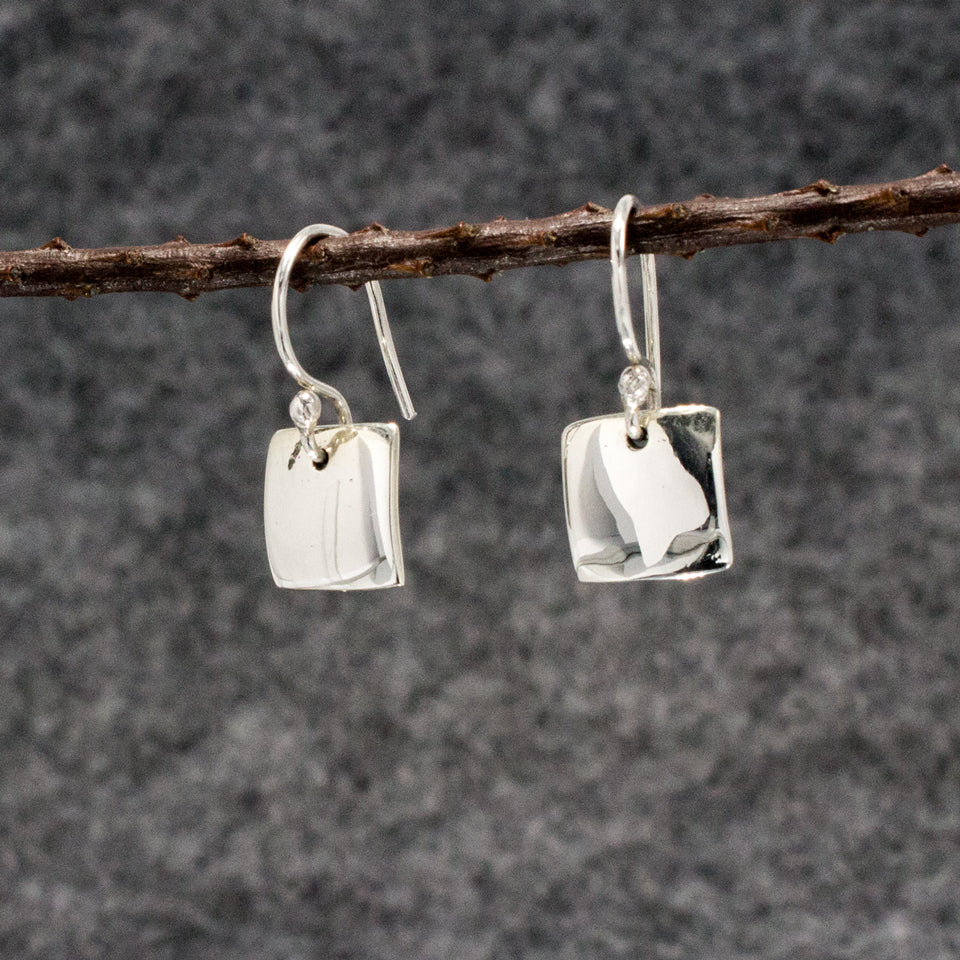 Small Square Sterling Silver French Wire Earrings | High Polished Finish