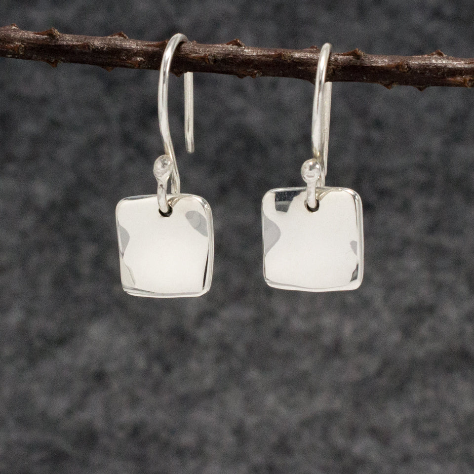 Small Lucilla Square Sterling Silver French Wire Earrings | High Polished Finish