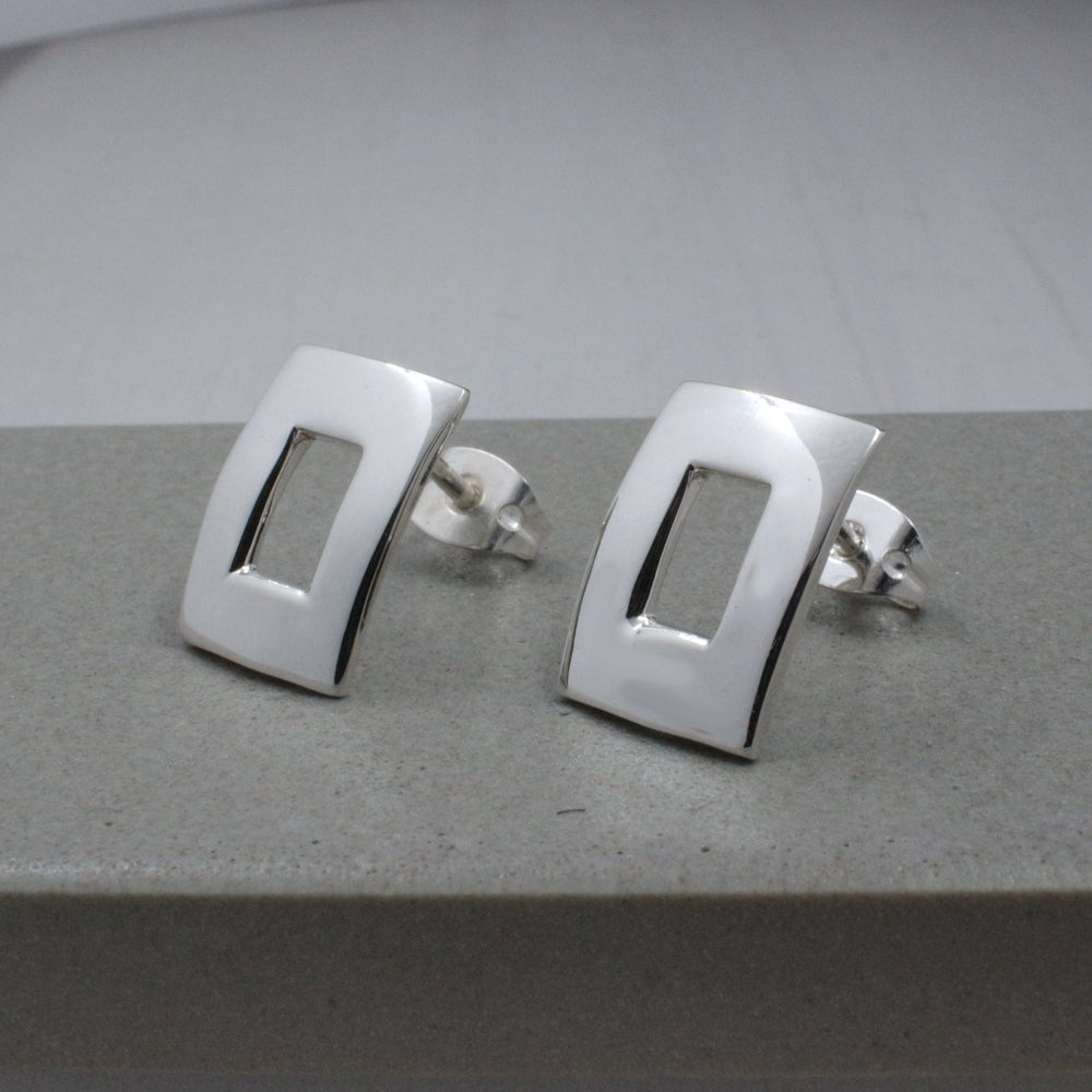 Small Off-Center Rectangle Sterling Silver Post Earrings | High Polished Finish